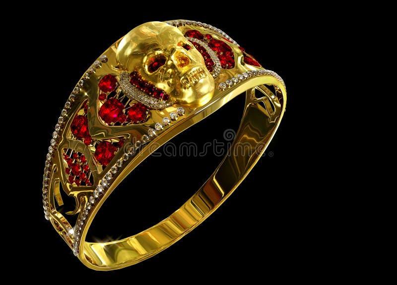 Anillo del cráneo del oro de la joyería con el diamante y las gemas de rubíes rojas imágenes de archivo libres de regalías