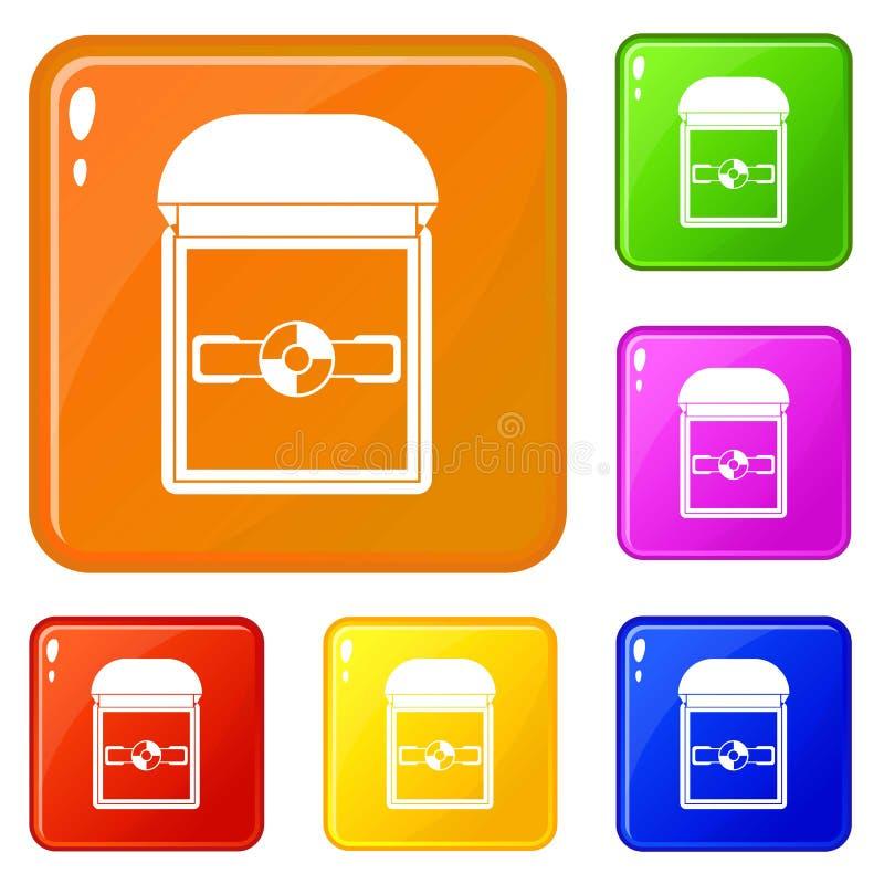 Anillo en un color del vector del sistema de los iconos de la caja del terciopelo libre illustration