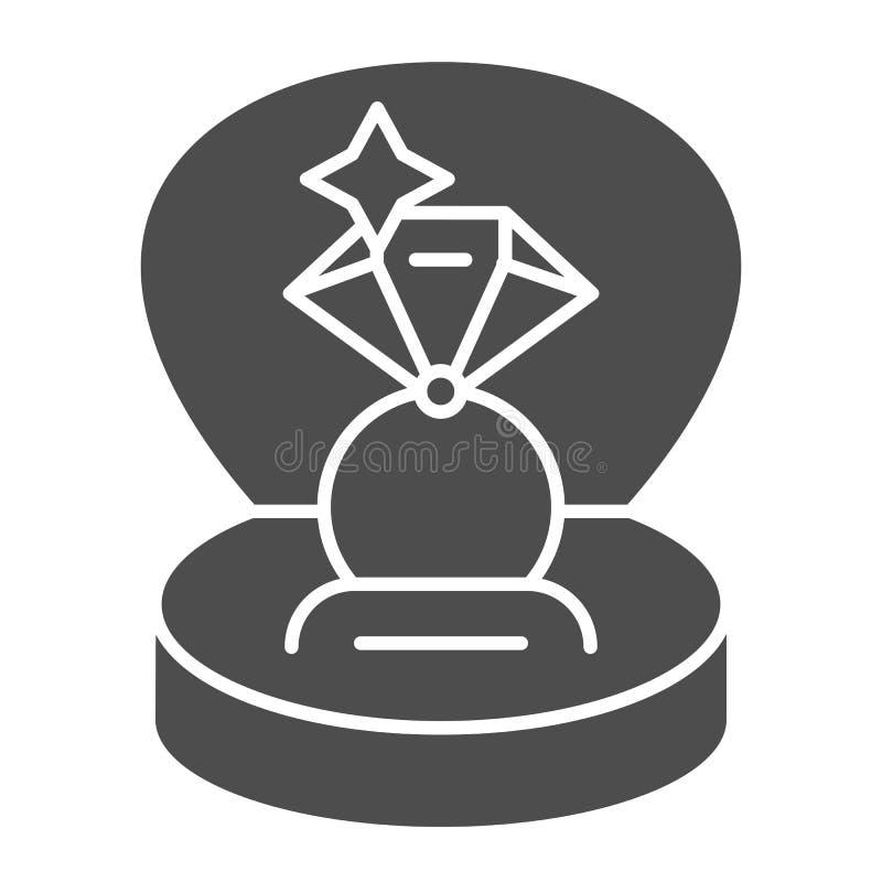 Anillo en un icono sólido de la caja de regalo Ejemplo del vector del anillo de compromiso aislado en blanco Diseño del estilo de stock de ilustración