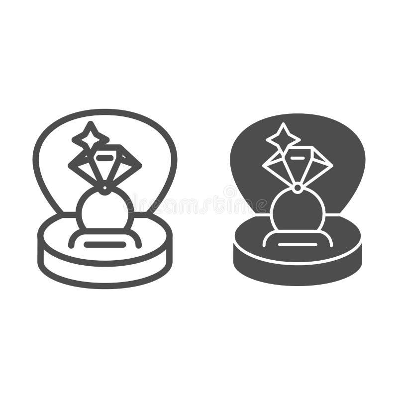 Anillo en una línea de la caja de regalo y un icono del glyph Ejemplo del vector del anillo de compromiso aislado en blanco Estil ilustración del vector