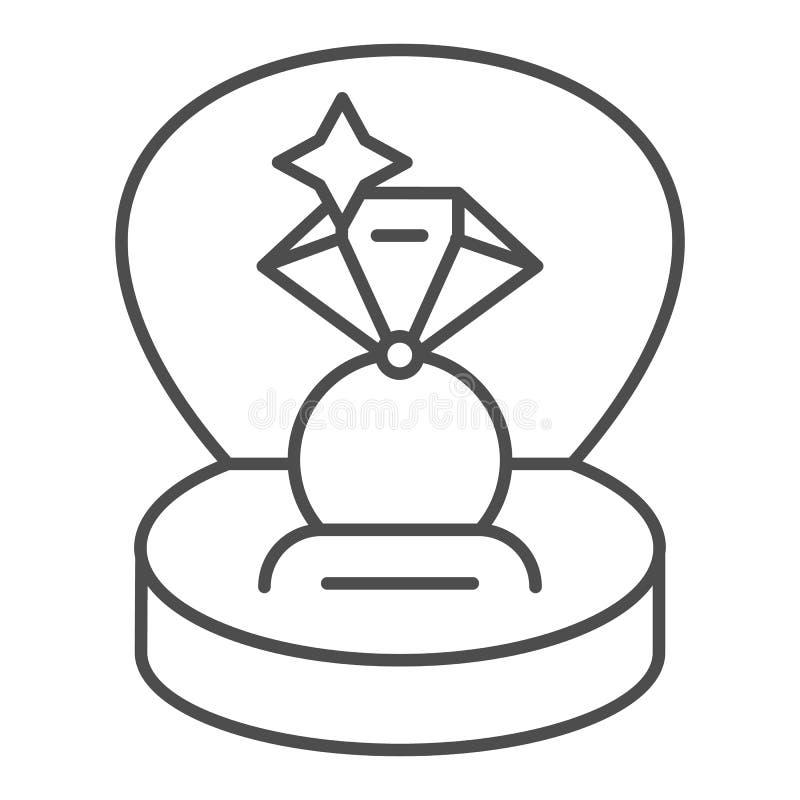 Anillo en una línea fina icono de la caja de regalo Ejemplo del vector del anillo de compromiso aislado en blanco Diseño del esti libre illustration