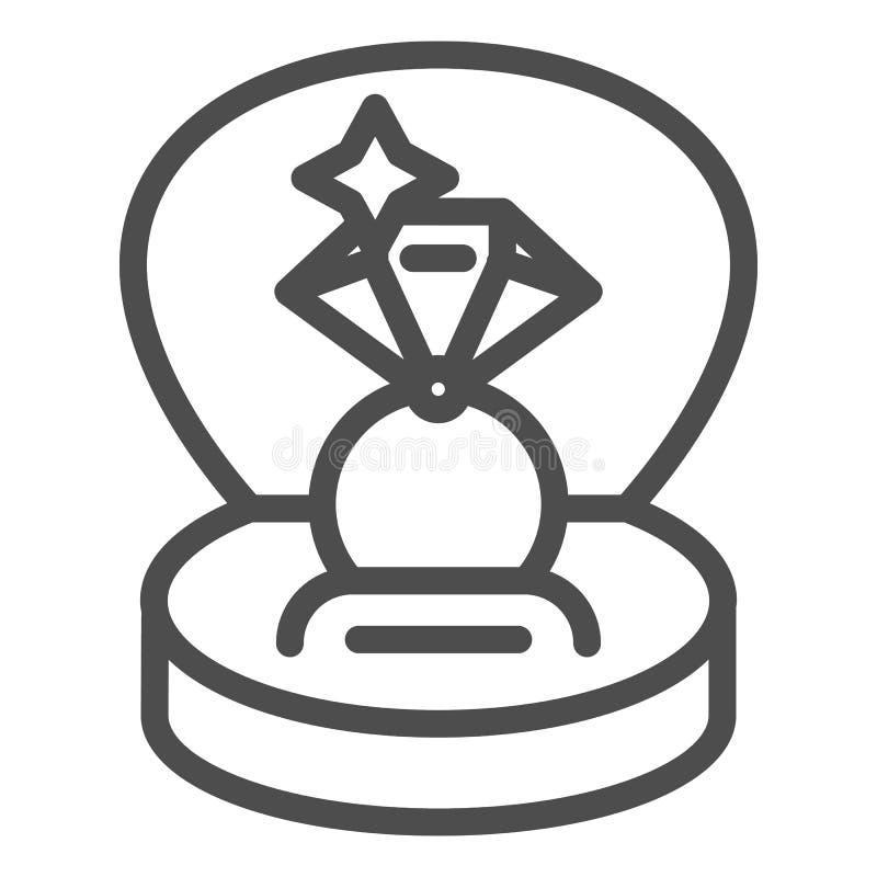 Anillo en una línea icono de la caja de regalo Ejemplo del vector del anillo de compromiso aislado en blanco Diseño del estilo de stock de ilustración