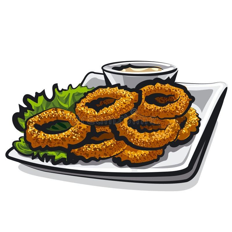 Anillo frito del calamar ilustración del vector