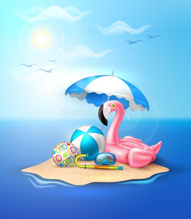 Anillo inflable de la piscina del flamenco del vector en la playa libre illustration