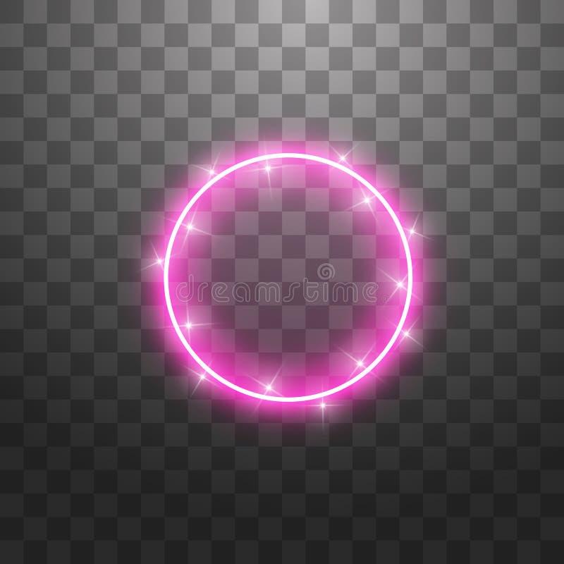 Anillo ligero del vector El marco brillante redondo con las luces saca el polvo de las partículas del rastro aisladas en fondo tr stock de ilustración
