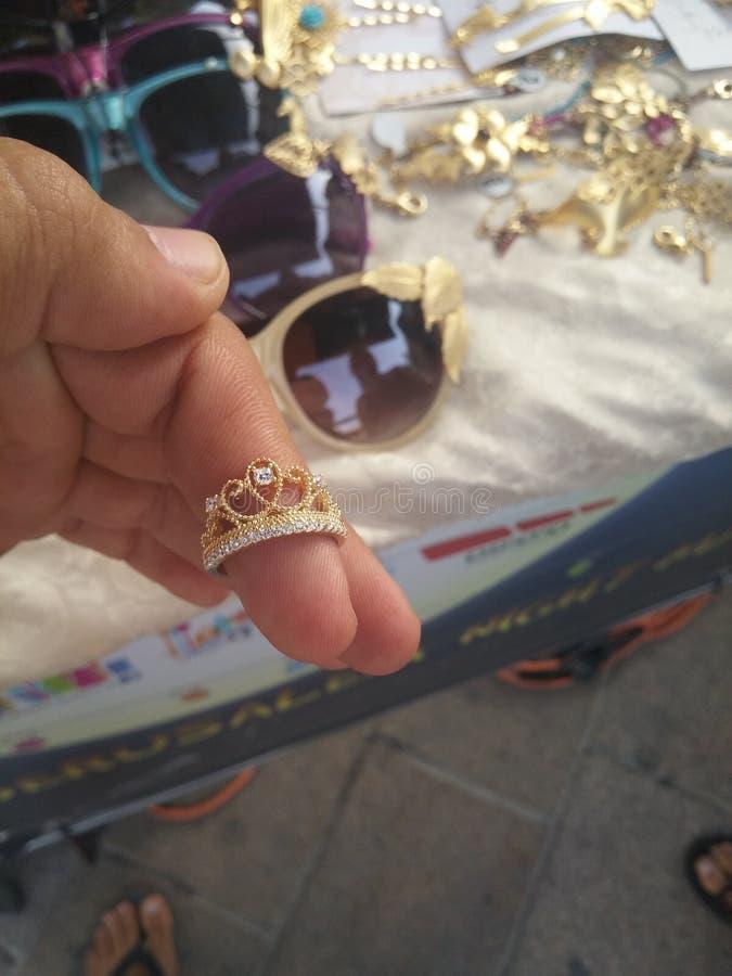 Anillo plateado oro en Jerusalén fotografía de archivo