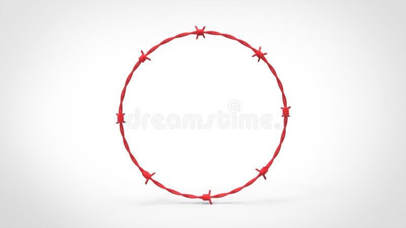 Anillo rojo del alambre de púas stock de ilustración