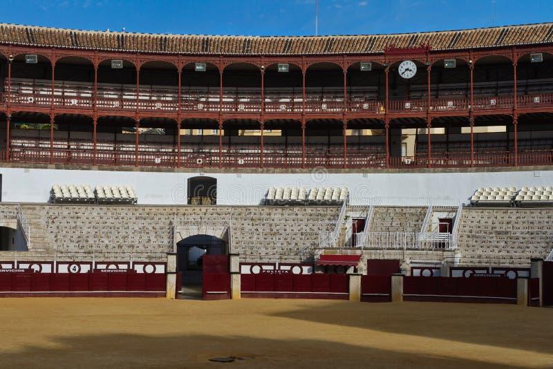 Anillo vacío del toro en Málaga fotografía de archivo