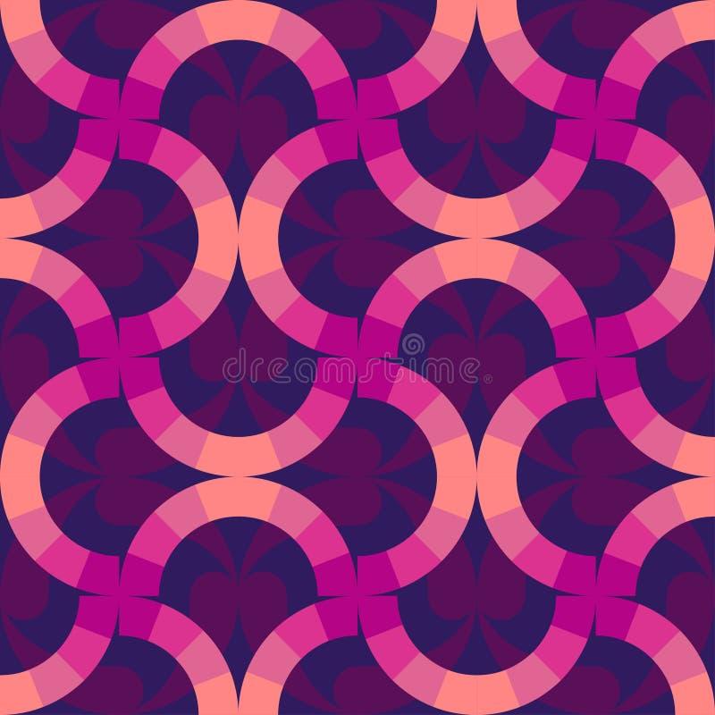 Anillos coloridos del fondo Papel pintado abstracto Diseño geométrico moderno del modelo en el estilo retro de Memphis, moda 80-9 stock de ilustración