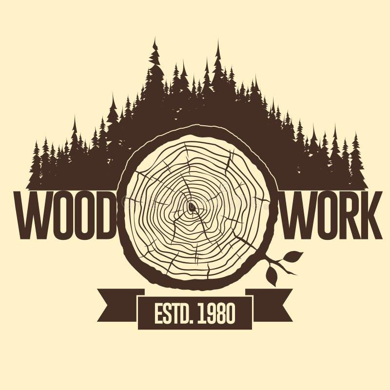 Anillos de árbol, tocón cortado Vector stock de ilustración