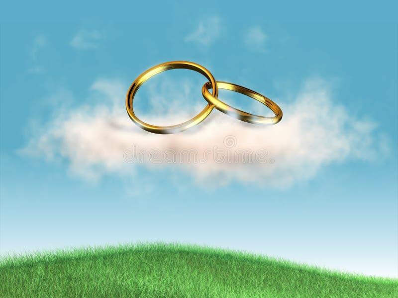 Anillos de bodas stock de ilustración
