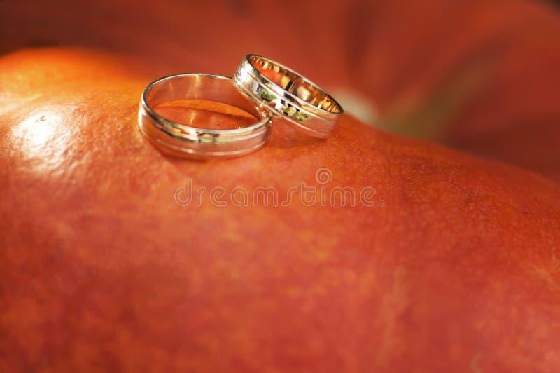 Anillos de bodas con oro rojo fotos de archivo libres de regalías