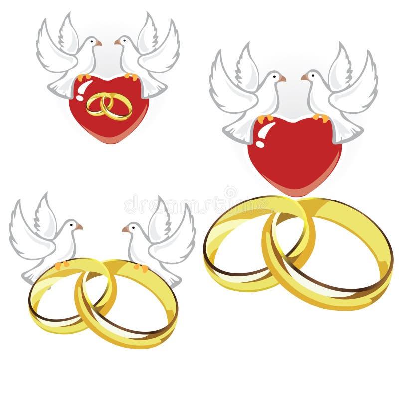 Anillos de bodas, corazones y palomas ilustración del vector