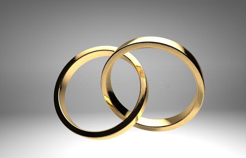 Anillos de bodas de oro stock de ilustración