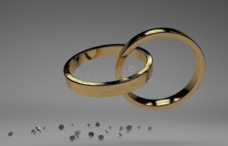 Anillos de bodas de oro con el diamante stock de ilustración