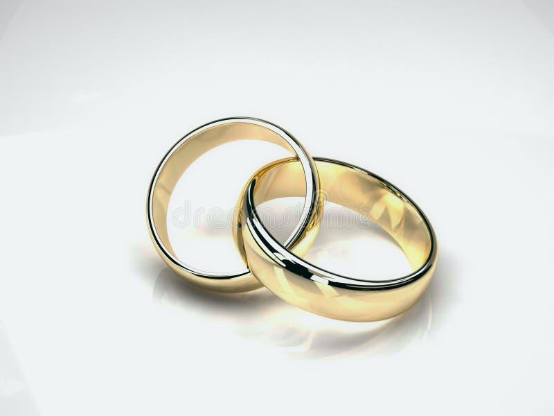Anillos de bodas del oro stock de ilustración