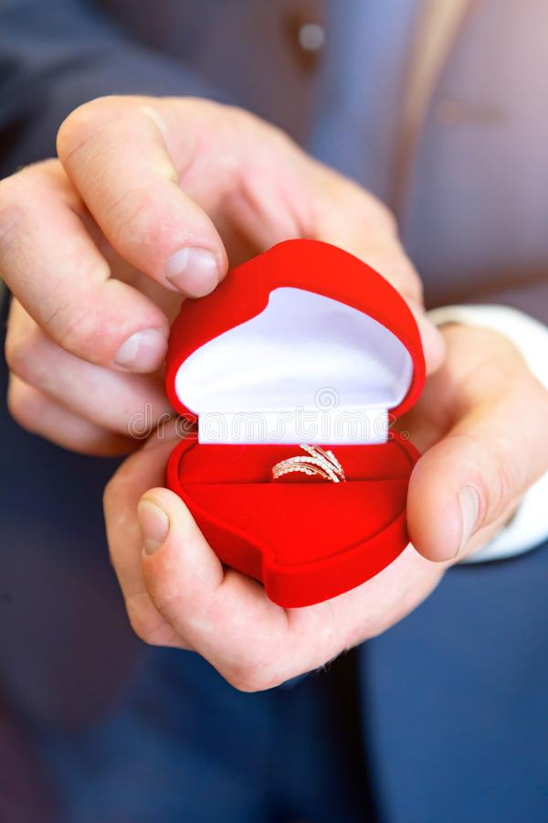 Anillos de bodas disponibles Anillos de bodas en las manos del novio fotografía de archivo libre de regalías