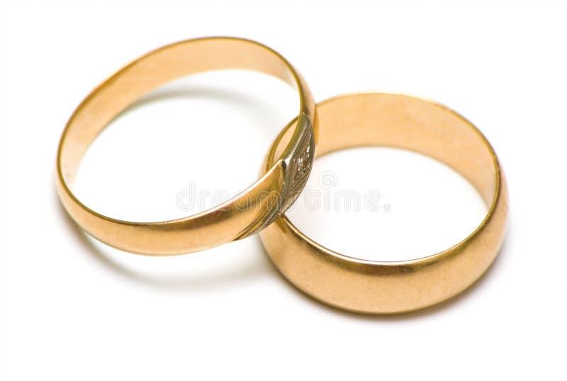 Anillos de bodas en blanco foto de archivo libre de regalías