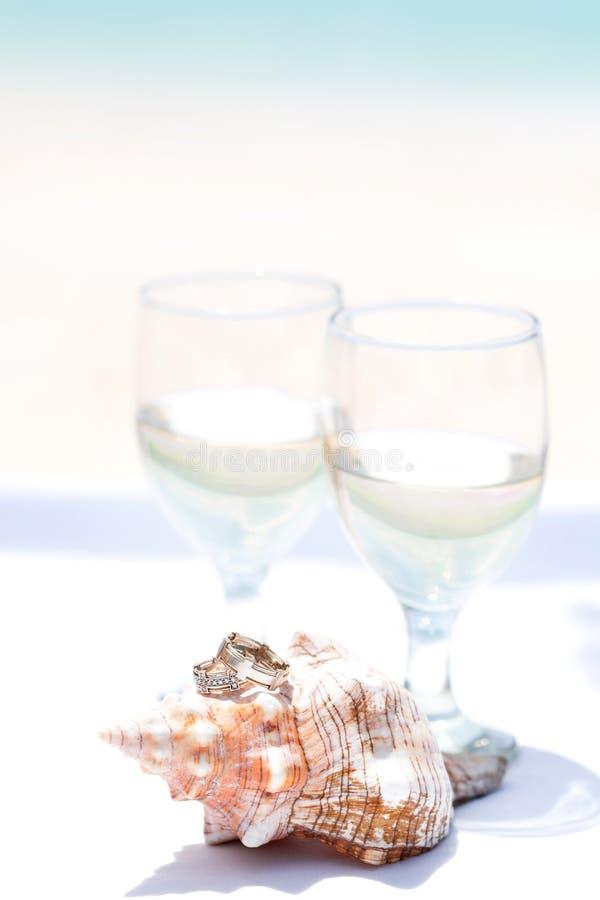 Anillos de bodas en concha marina y el vidrio de champán imagen de archivo