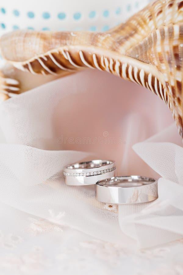 Anillos de bodas en el oro blanco imagen de archivo libre de regalías