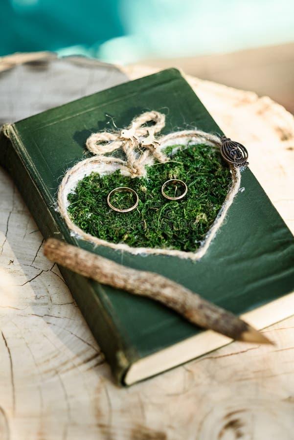 Anillos de bodas en la hierba imagen de archivo libre de regalías