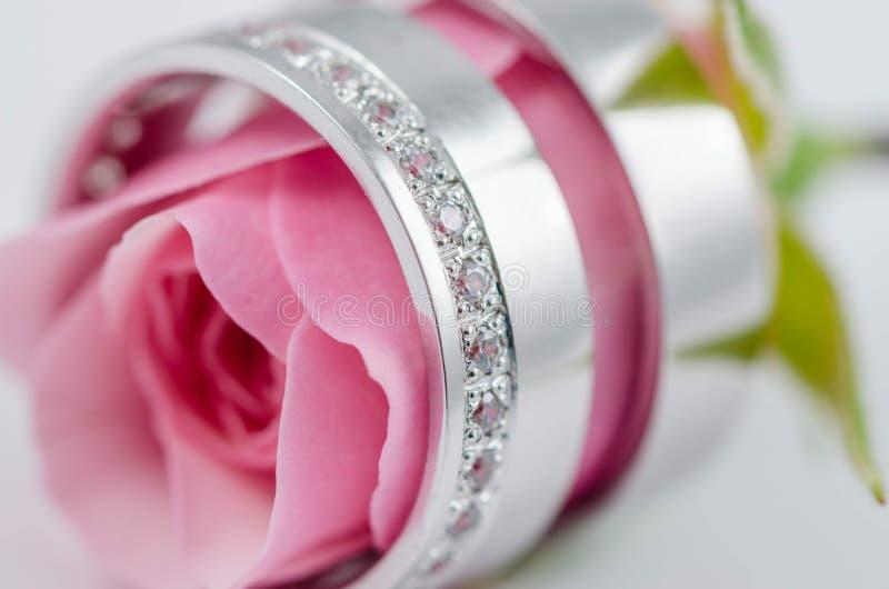 Anillos de bodas interiores de la rosa del rosa imagenes de archivo