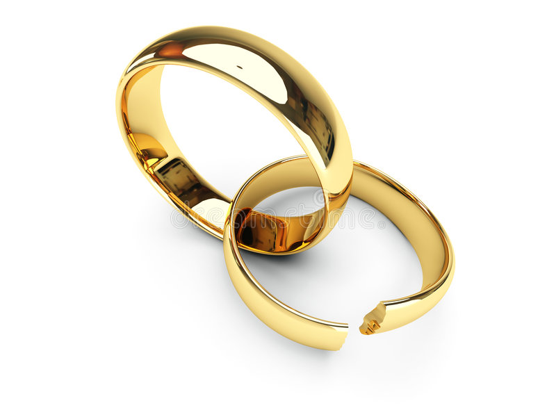 Anillos de bodas quebrados del oro stock de ilustración