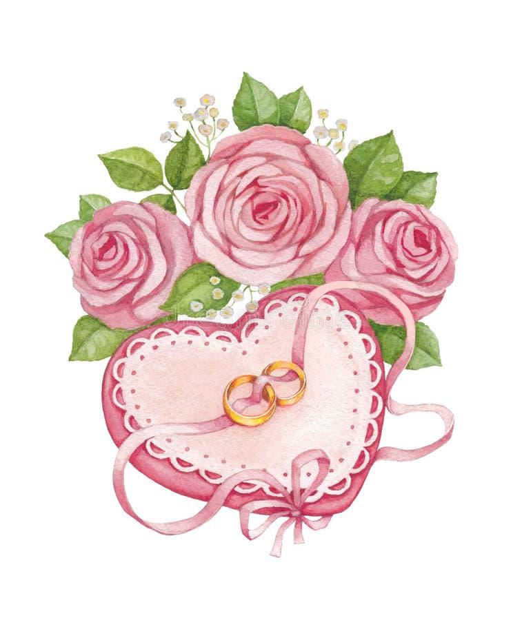 Anillos de bodas y ramo nupcial stock de ilustración