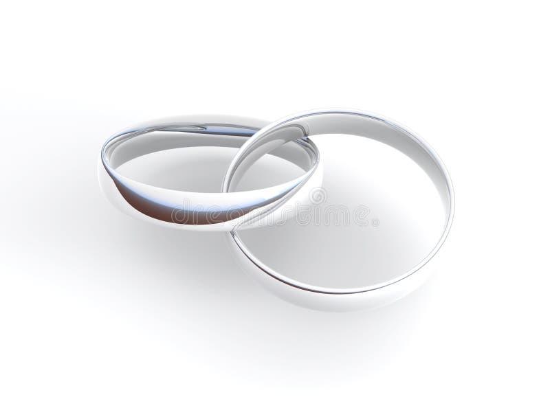 Anillos de compromiso de plata ilustración del vector