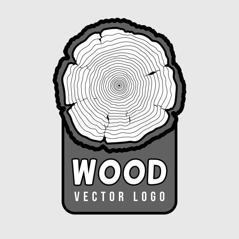 Anillos de crecimiento anuales del árbol, registro seccionado transversalmente del vector del inconformista del tronco libre illustration