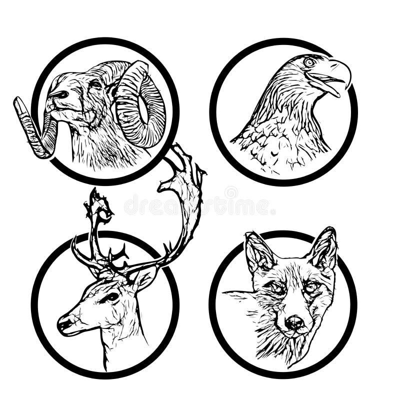 Anillos 2 de los animales del bosque stock de ilustración