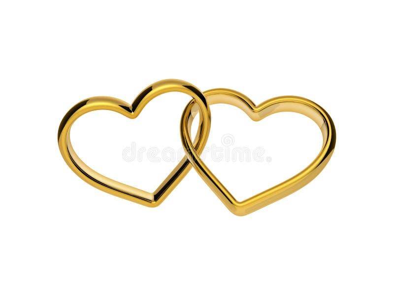 anillos de oro de los corazones del compromiso 3d conectados juntos ilustración del vector