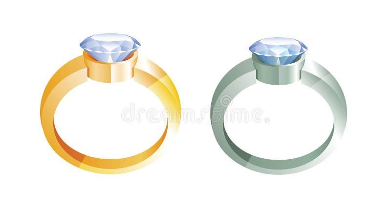 Anillos de oro y anillos de plata con los diamantes libre illustration
