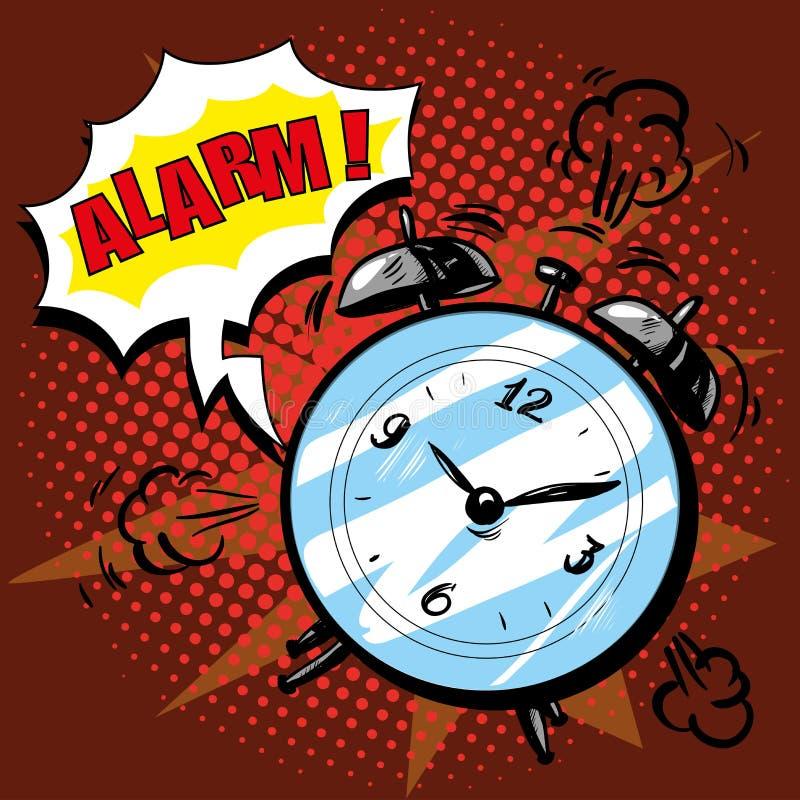 Anillos del despertador a despertar por la mañana Vector el ejemplo en estilo cómico retro del arte pop stock de ilustración