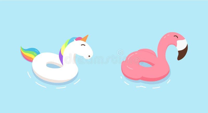Anillos del flotador del unicornio y del flamenco del arco iris Ejemplos dibujados mano plana del garabato del vector Verano, día ilustración del vector