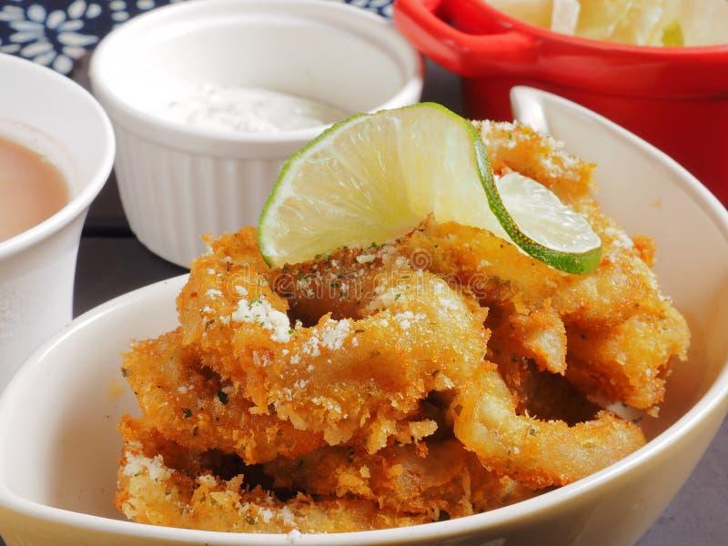 Anillos fritos del calamar foto de archivo libre de regalías