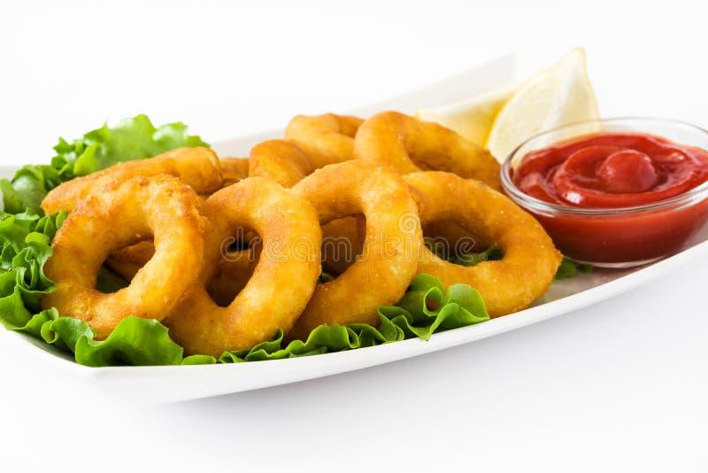 Anillos fritos del calamari con lechuga y salsa de tomate imagen de archivo libre de regalías