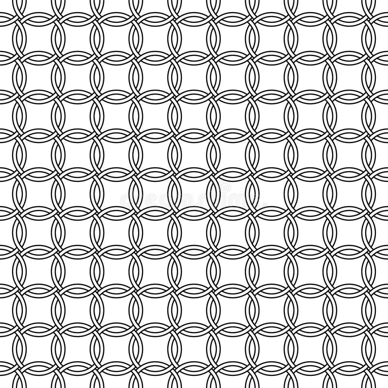 Anillos redondos del modelo inconsútil de la malla, círculos entrelazados vector del correo en cadena, anillos inconsútiles del c libre illustration