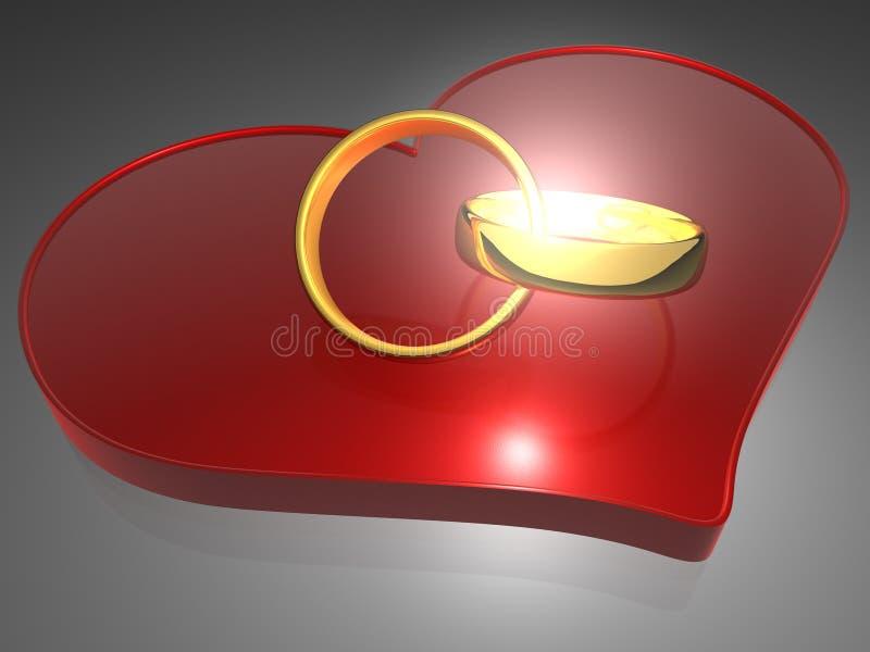 Anillos y corazón - 3D ilustración del vector
