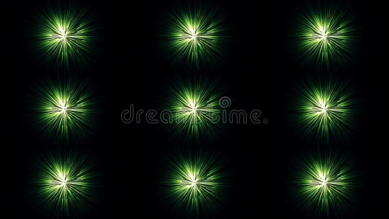 Animação abstrata de feixes coloridos bonitos de vislumbrar claro no fundo escuro animation N?on brilhante ilustração do vetor