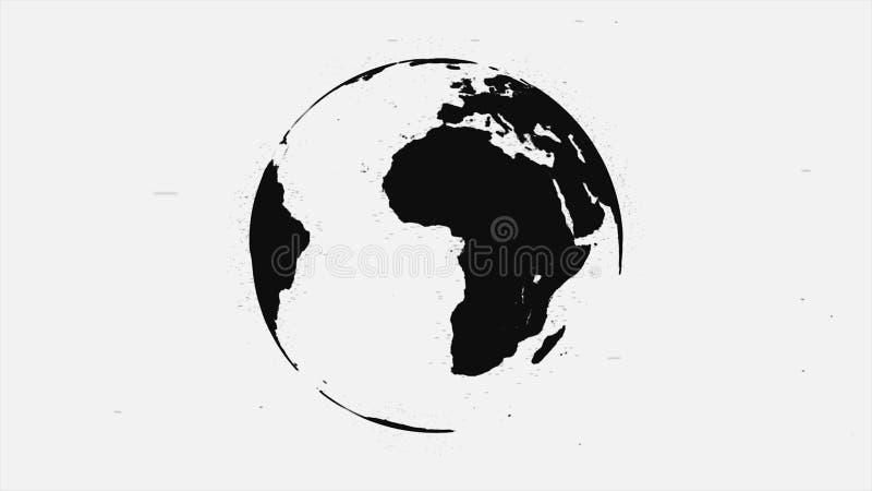 Animação abstrata de girar a terra preta do planeta no fundo branco Terra pintada do planeta com contornos pretos de ilustração do vetor