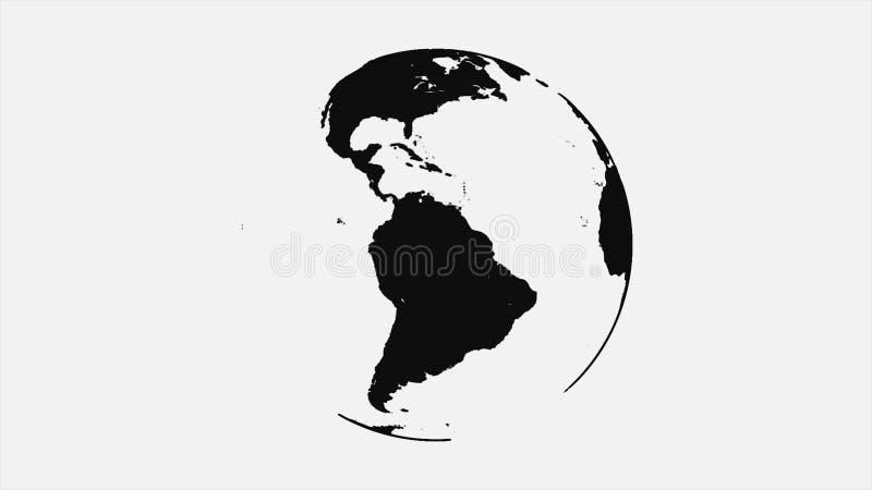 Animação abstrata de girar a terra preta do planeta no fundo branco Terra pintada do planeta com contornos pretos de ilustração stock