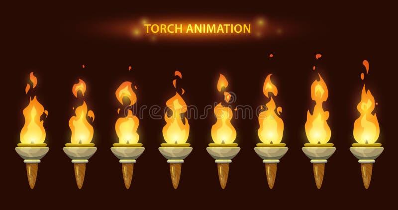 Animação da tocha dos desenhos animados ilustração stock