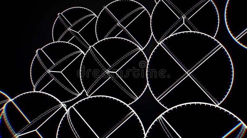 Animação de círculos brancos de cruzamento Animação abstrata de girar formas geométricas complexas em um fundo preto ilustração stock