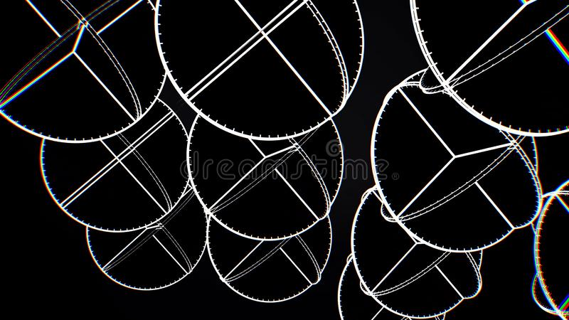 Animação de círculos brancos de cruzamento Animação abstrata de girar formas geométricas complexas em um fundo preto ilustração royalty free