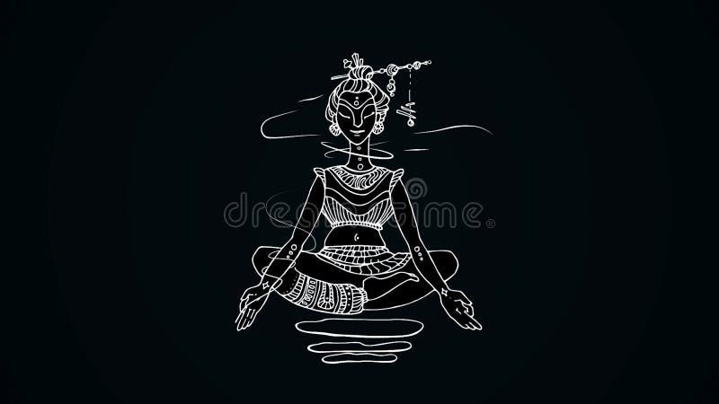 Animação de meditar a mulher no fundo preto Desenho das linhas brancas de mulher indiana que levitam na posição de lótus ilustração stock