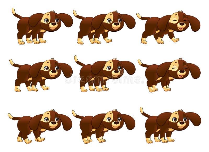 Animação de passeio do cão. ilustração royalty free
