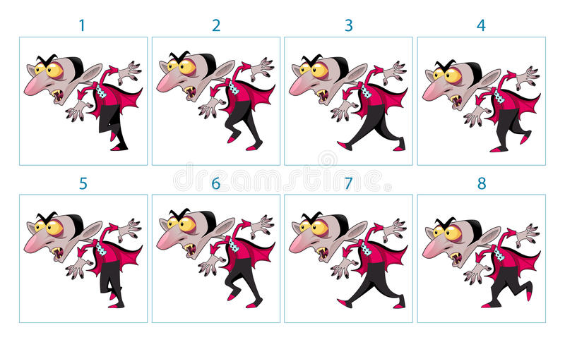 Animação de um caráter do vampiro dos desenhos animados ilustração royalty free