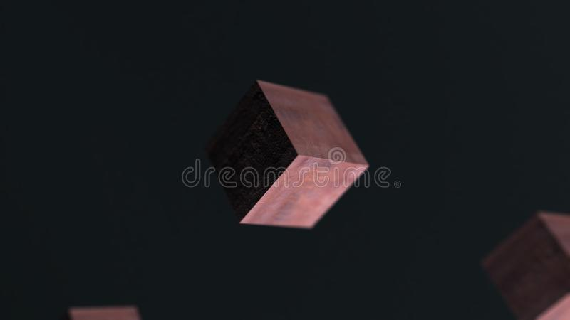 Animação do fundo 3d do sumário do cubo da oxidação do metal da gravidade ilustração royalty free