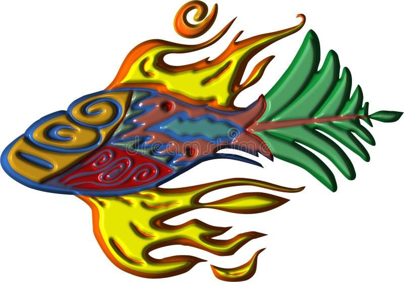 Animação dos peixes das aletas do fogo ilustração stock